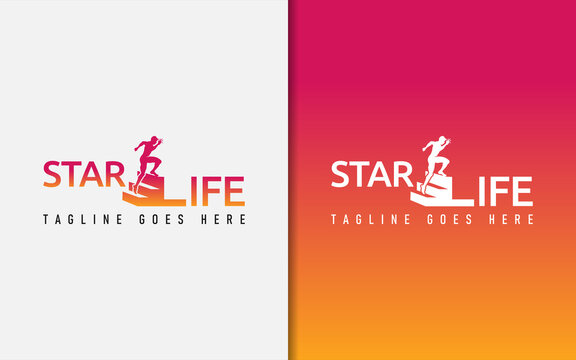 Star Life Motivation Logo Design. Usable For Business, Community, Foundation, Tech, Services Company. Vector Logo Design Illustration.