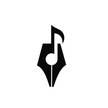 Songwriter Logo concept pen nib with music note icon vector illustration flat design
