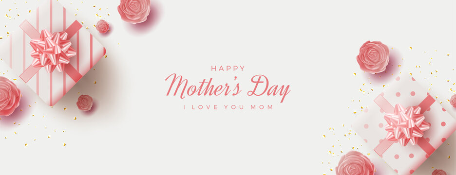 Mother's day banner with two pink gift boxes.