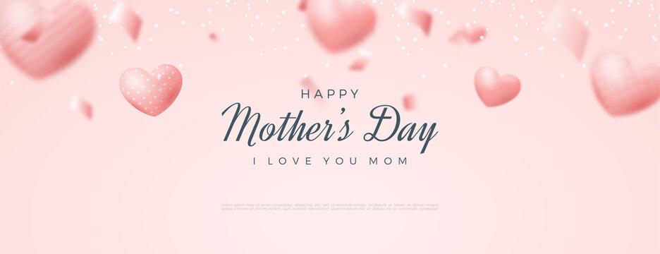 Happy mother's day banner with 3d love balloons illustration.