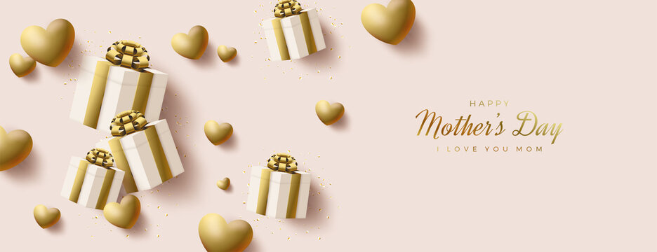 Mother's day with 3d gold gift box and balloons illustration.