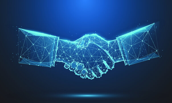 Abstract image of Business handshake in glowing blue. Low polygon, particle, and triangle style design.Wireframe light connection structure or points, lines, and shapes in the form of planets, stars