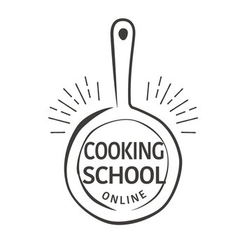 Hand drawn flying pan illustration, logo design for online cooking school