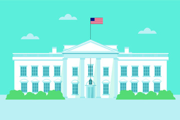 Flat Design White House Dark Background