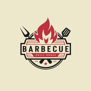BBQ icon illustration, grill house and bar with grill, fire, fork and spatula for barbecue restaurant logo design