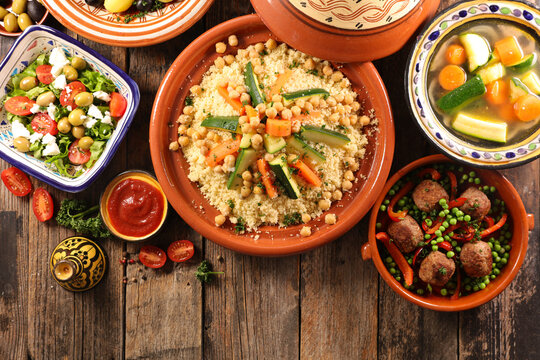 selection of moroccan dish- top view