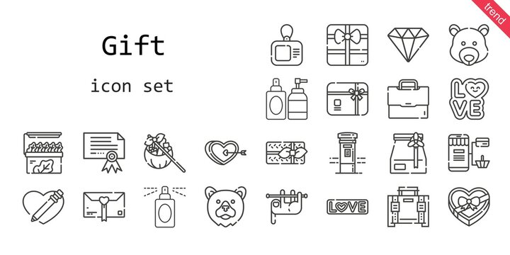 gift icon set. line icon style. gift related icons such as love, gift, online shopping, gift card, briefcase, certificate, store, perfume, sloth, heart, diamond, mailbox