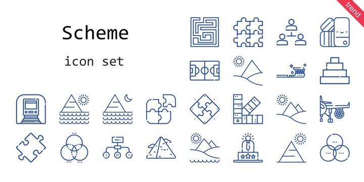 scheme icon set. line icon style. scheme related icons such as engine, underground, puzzle, hierarchical structure, pyramid, tooth brush, labyrinth, pantone, rgb, user experience, football field