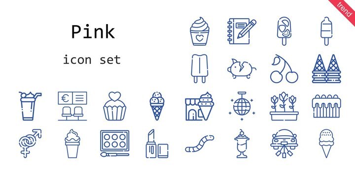 pink icon set. line icon style. pink related icons such as cherry, gender, worm, piggy bank, lipstick, mirror ball, popsicle, wedding car, bank, ice cream, watercolor, tulips, cake, cupcake, notebook,