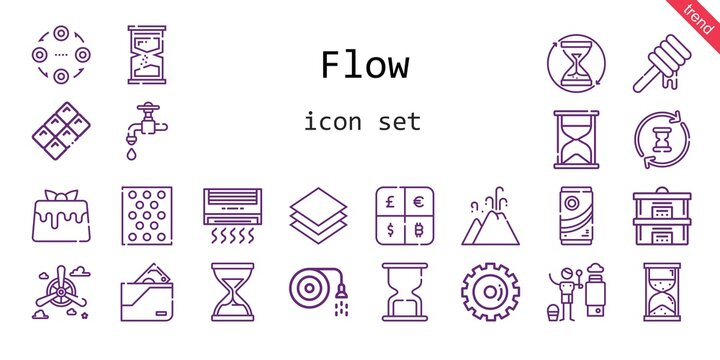 flow icon set. line icon style. flow related icons such as wallet, faucet, propeller, caramel, heater, hose, bubble warp, structure, layer, honey, hourglass, eruption