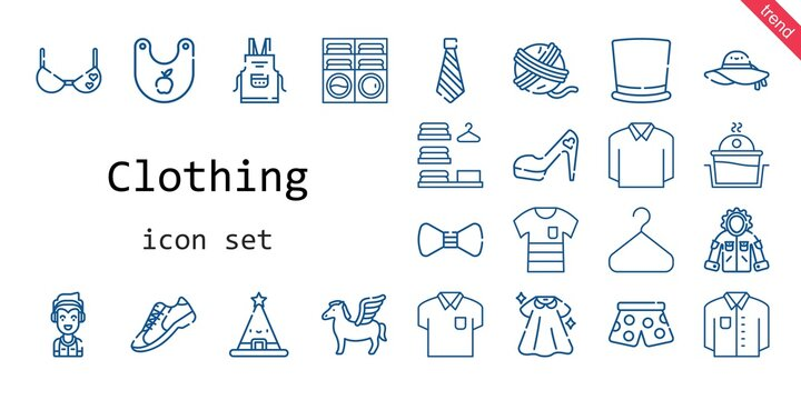 clothing icon set. line icon style. clothing related icons such as washing machine, dress, marshall, pants, sneakers, top hat, jacket, apron, yarn ball, pegasus, bra, tie, bow tie
