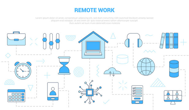 remote work with icon set template banner with modern blue color style