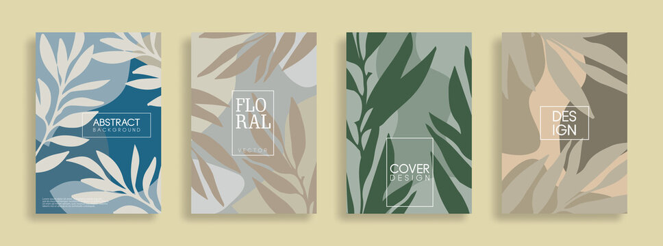 Set of cover and banners. Trendy abstract floral geometric composition for banners, placards, cover book, poster, flyer, social media story, and page layout design.
