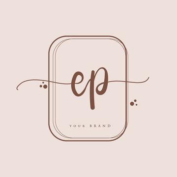 EP Initial handwriting logo. Hand lettering Initials logo branding, Feminine and luxury logo design isolated on elegant background.