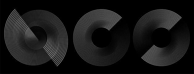 Circular spiral sound wave rhythm from lines.