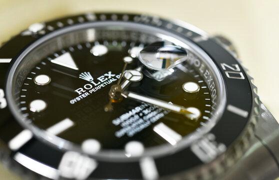 Bangkok Thailand- January 28,2021:Close up Rolex Submariner Date Steel Black Ceramic Men's Wrist watch