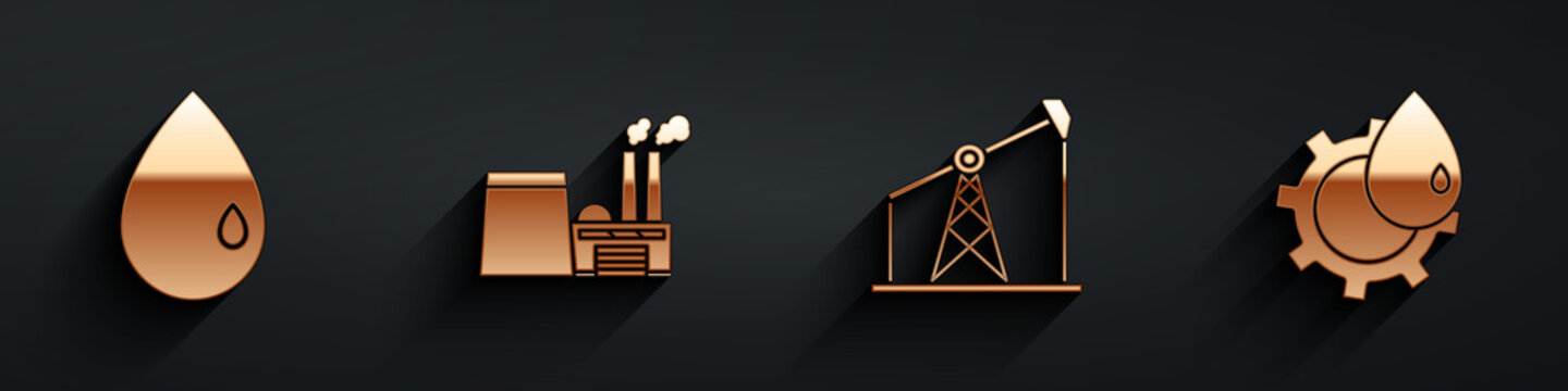 Set Oil drop, Oil industrial factory building, Oil pump or pump jack and Oil industrial factory building icon with long shadow. Vector.