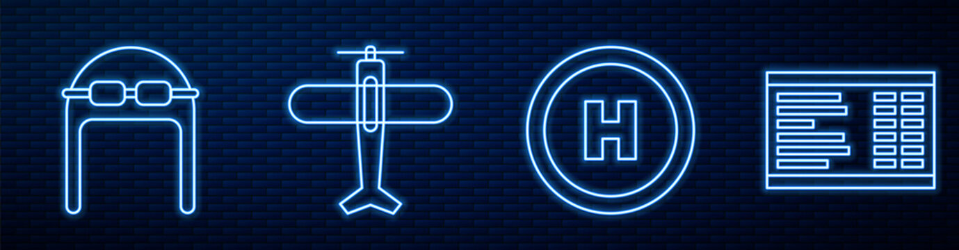 Set line Helicopter landing pad, Aviator hat with goggles, Plane and Airport board. Glowing neon icon on brick wall. Vector.