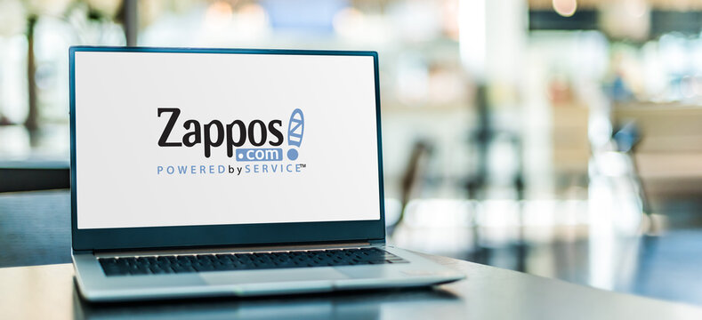 Laptop computer displaying logo of Zappos.com
