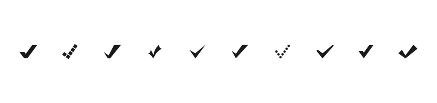 Set of Check mark in black. Check marks or ticks. Black confirm symbol. Vector icon confirm acceptance of a positive passed agreement on voting or completion of tasks in the list. Vector illustration