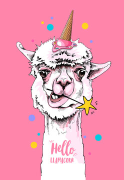 Fun Llama in a ice cream party hat, and with a star on a pink background. Hello Llamacorn - lettering quote. Happy bithday humor card, t-shirt composition, hand drawn style print. Vector illustration.