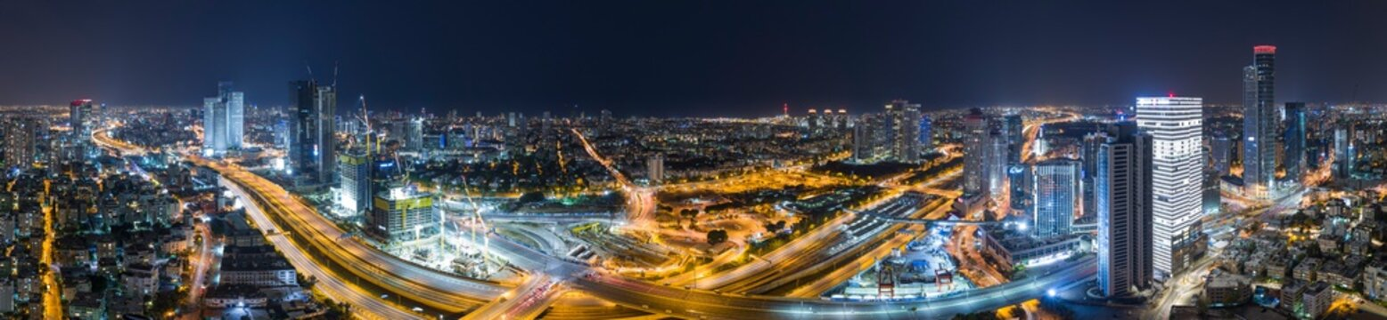 Tel Aviv Cityscape Aerial View At Night