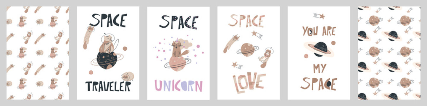 Big vector set of cards with funny cats astronauts and seamless patterns with space thematics. Pastel cutout background with kittens and planets.