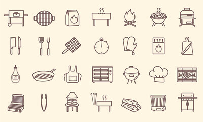 Set of grilling line icons. BBQ barbecue grill. Collection of minimal style isolated outline icons, signs and symbols. Editable Strokes - fototapety na wymiar