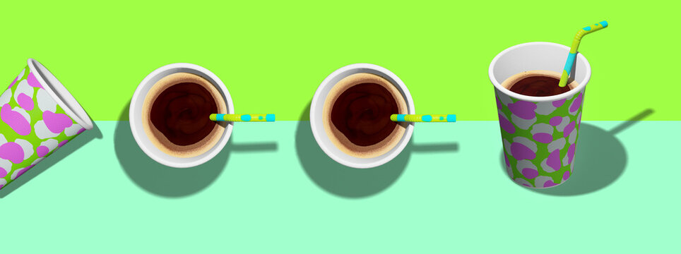 3d render fashion collage flat lay scene. Designer textured coffee cup. . Funny fresh Creative breakfast concept. Minimalistic food style modern art.