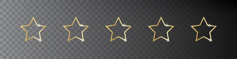 Five star rate. Vector illustration. 5 golden star.