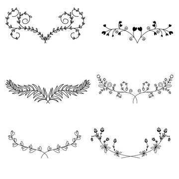 Floral ornamental doodle dividers, vintage hand drawn tribal arrow and calligraphic deco border vector set isolated on white background. Vector Illustration EPS 10