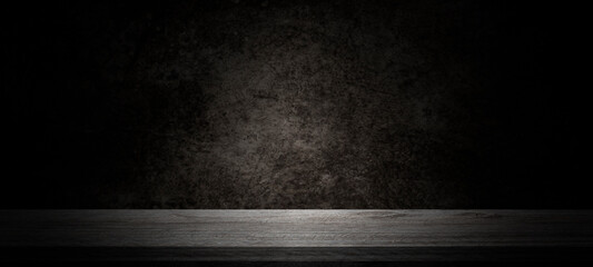 Empty wooden table on cement wall dark background,perspective wooden floor shelf table,used as a...