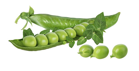Fototapete - Green peas isolated on white background