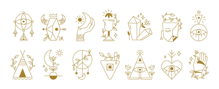 Mystical symbols. Boho ethnic and alchemic icons. Spiritual outline signs with human eyes or hands. Collection of decorative isolated abstract elements, esoteric contour tattoo design. Vector flat set