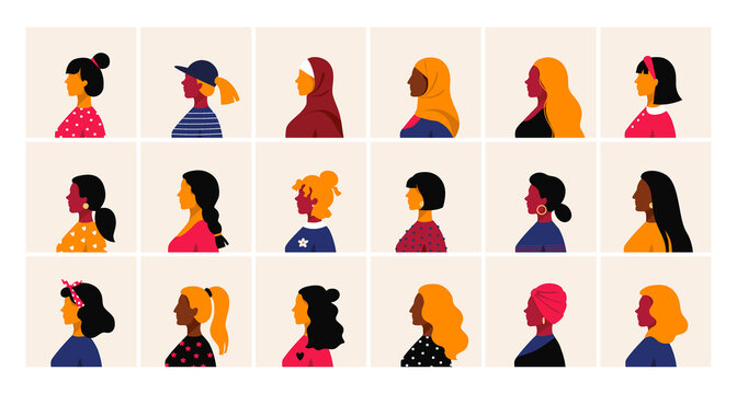 Woman profile. Female head side view, minimal cartoon faces. Cute people with haircuts and hairstyles. Modern collection of different girl avatars, square banners set. Vector trendy human portraits