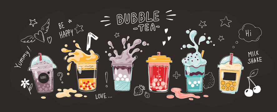 Bubble tea cup. Cartoon hand drawn poster of sweet drinks. Full glasses and splashing liquid. Collection of yummy milk shakes or cocktails. Black horizontal banner with lettering. Vector menu template