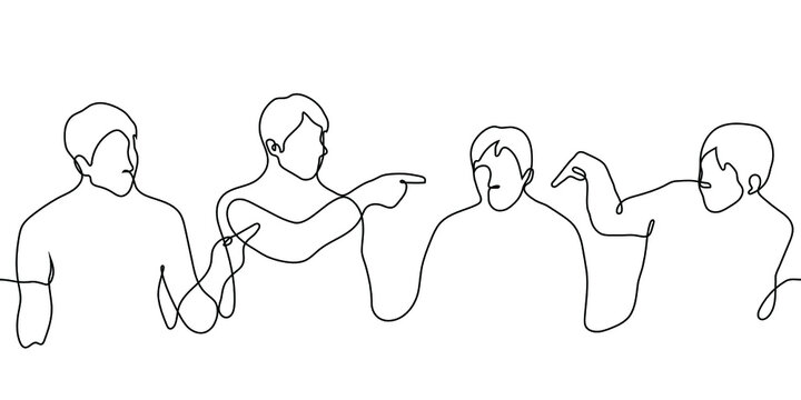 crowd of a man points a finger at one. one line drawing seated people vote for someone, point to the chosen one. voting concept, appointing responsible person, victim bullying, abolition culture