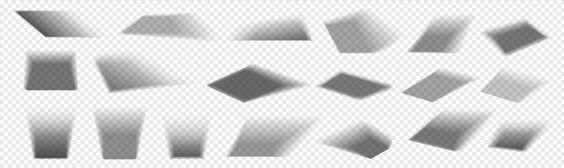 Realistic square shadow. Falling gray shades from rectangular objects. Collection of isolated overlay blackout effects on transparent background. Light from window. Vector decorative templates set
