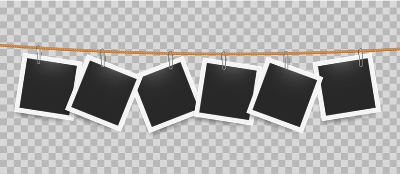 Photo frame hanging by clip on rope. Realistic blank photography templates on transparent background. Square pictures attached to thread in line. Exhibition mockup with copy space. Vector snapshot