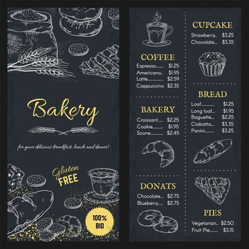 Bakery menu mockup. Hand drawn brochure of food with price. Cafe assortment, gluten free meal. Outline cupcake and pie, donut or bread on blackboard background. Vector design template for restaurant