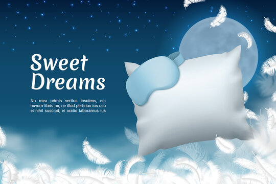 Sweet dreams poster. Realistic sleep mask and soft pillow. Comfortable bedding or healthy sleeping. Flying white feathers on background of night sky with full moon and stars. Vector banner template