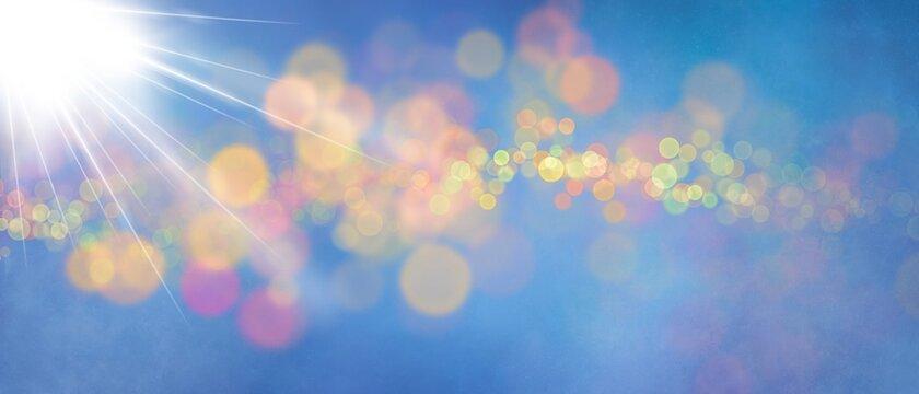 Sfondo banner blu con bokeh colorati