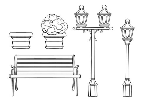 Line art of a bench, a flower bed and a lantern.High quality illustration