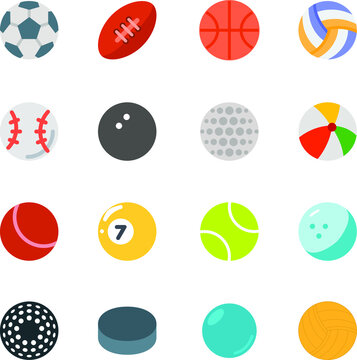 Types of sports ball set icon collection with football, rugby, basketball, volleyball, baseball, snooker, hockey, cricket, tennis, ping pong, golf, marble, beachball, water polo,