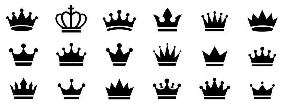 Big collection quolity crowns. Crown icon set. Collection of crown silhouette. Gold crown. Royal Crown icons collection set. Vintage crown.