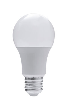 Modern LED energy saving white bulb isolated on a white background in close-up.
