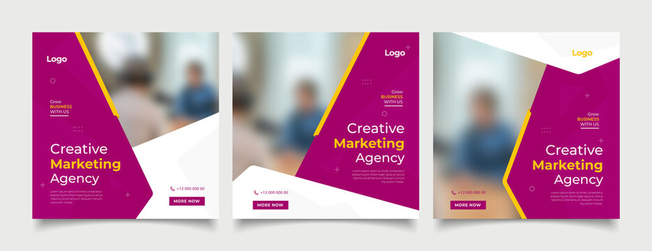 Creative marketing agency banner for social media post template