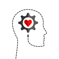 Obraz Human head silhouette made of dotted line with gear and heart shape inside as positive thinking, inspiration, mental health or emotional intelligence concept - fototapety do salonu
