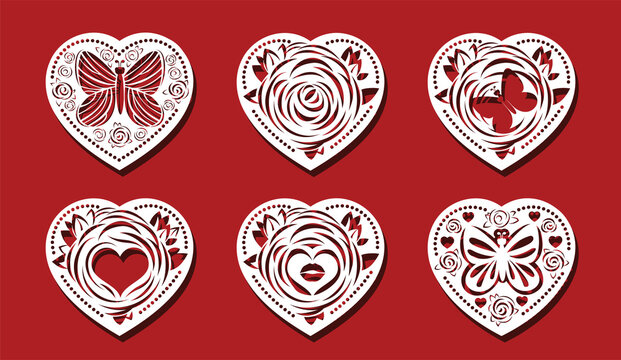 Heart cut on red background for laser cutting. Rose flower, butterfly in heart shape. Air kiss in flower vector illustration.