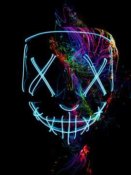 neon mask, Halloween mask, abstractAMERA